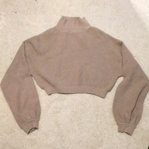 Crop mock turtleneck sweater